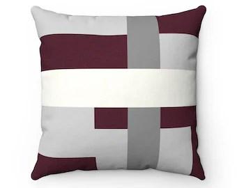 burgundy pillows etsy