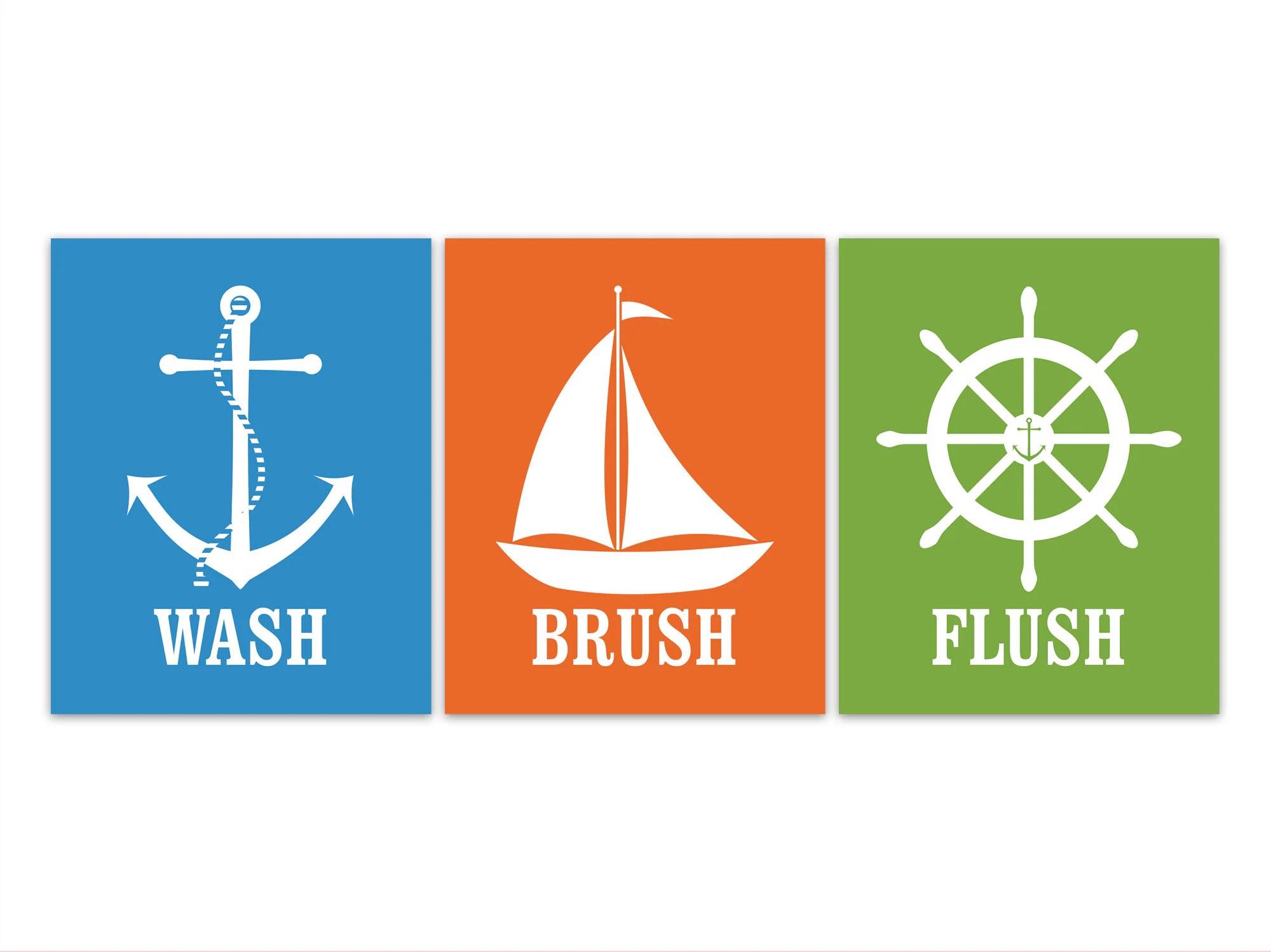 Wash Brush Flush Bathroom Rules Canvas Or Prints Nautical
