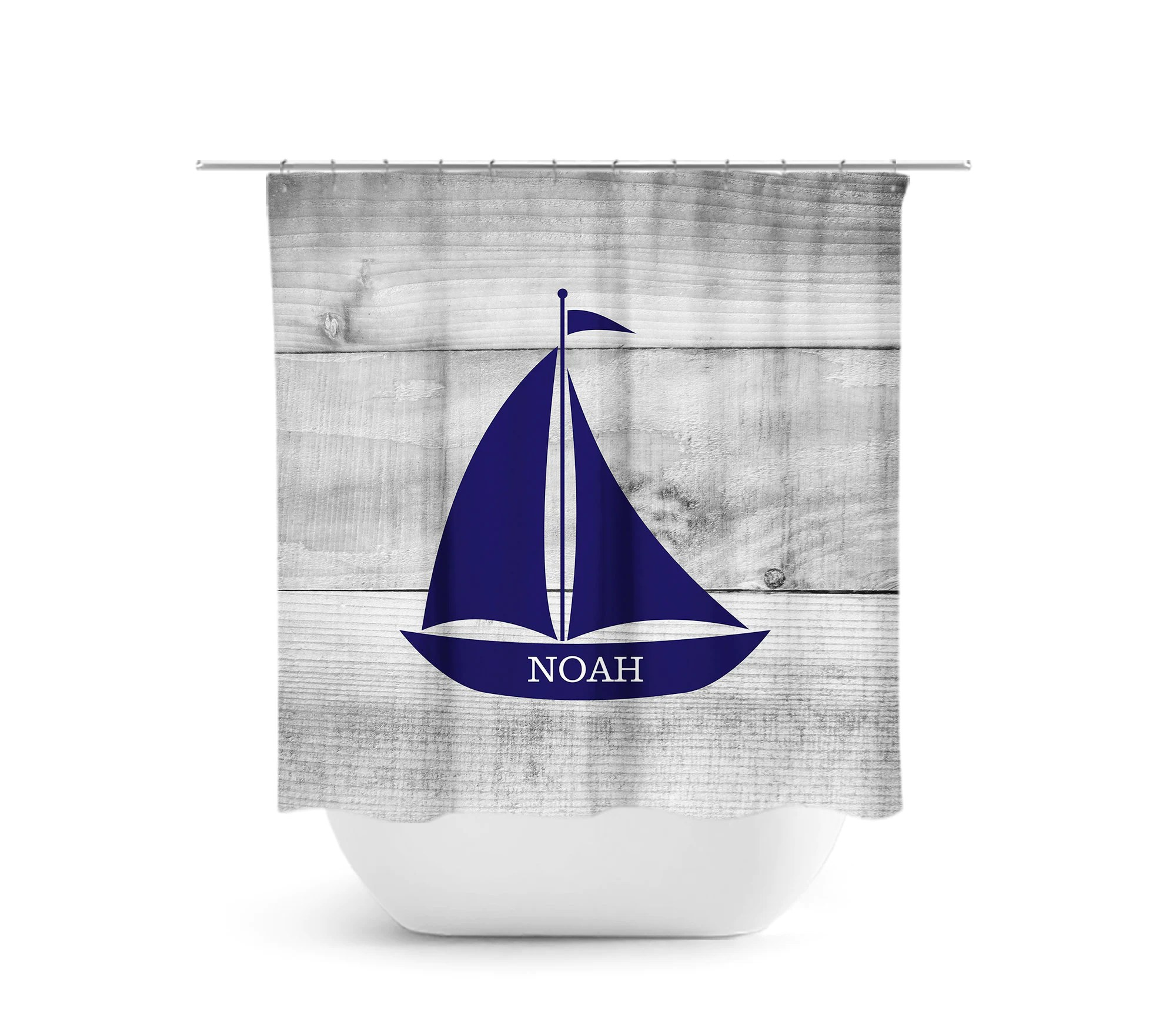 Nautical Shower Curtain Personalized Shower Curtain Kids