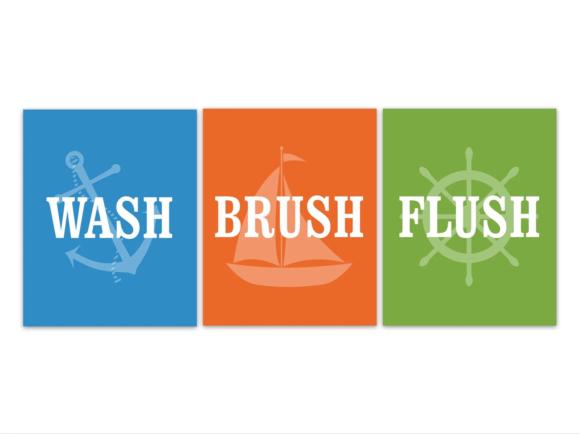 Boys Bathroom Wash Brush Flush Bathroom Rules Blue Orange