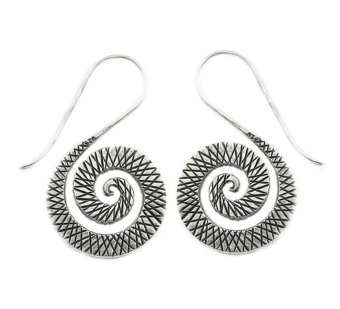 Sterling Silver Spiral Boho Statement Earrings Handmade