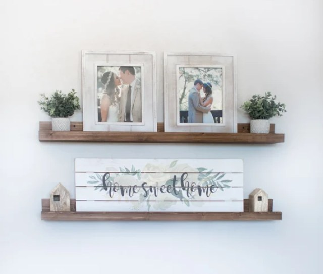 Free Shipping Rustic Wooden Picture Ledge Shelf Ledge Etsy