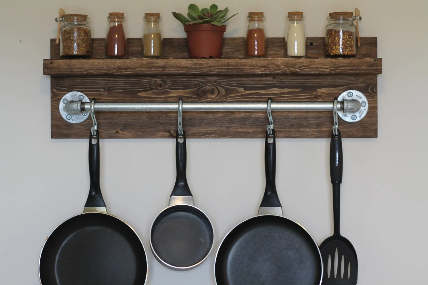 kitchen pot racks high table set rustic industrial rack gifts for him wall shelf etsy image 0