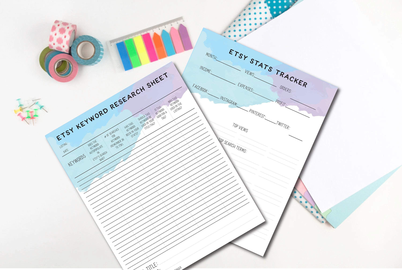 Etsy Shop Planner Seller Worksheets Keyword Research Stats