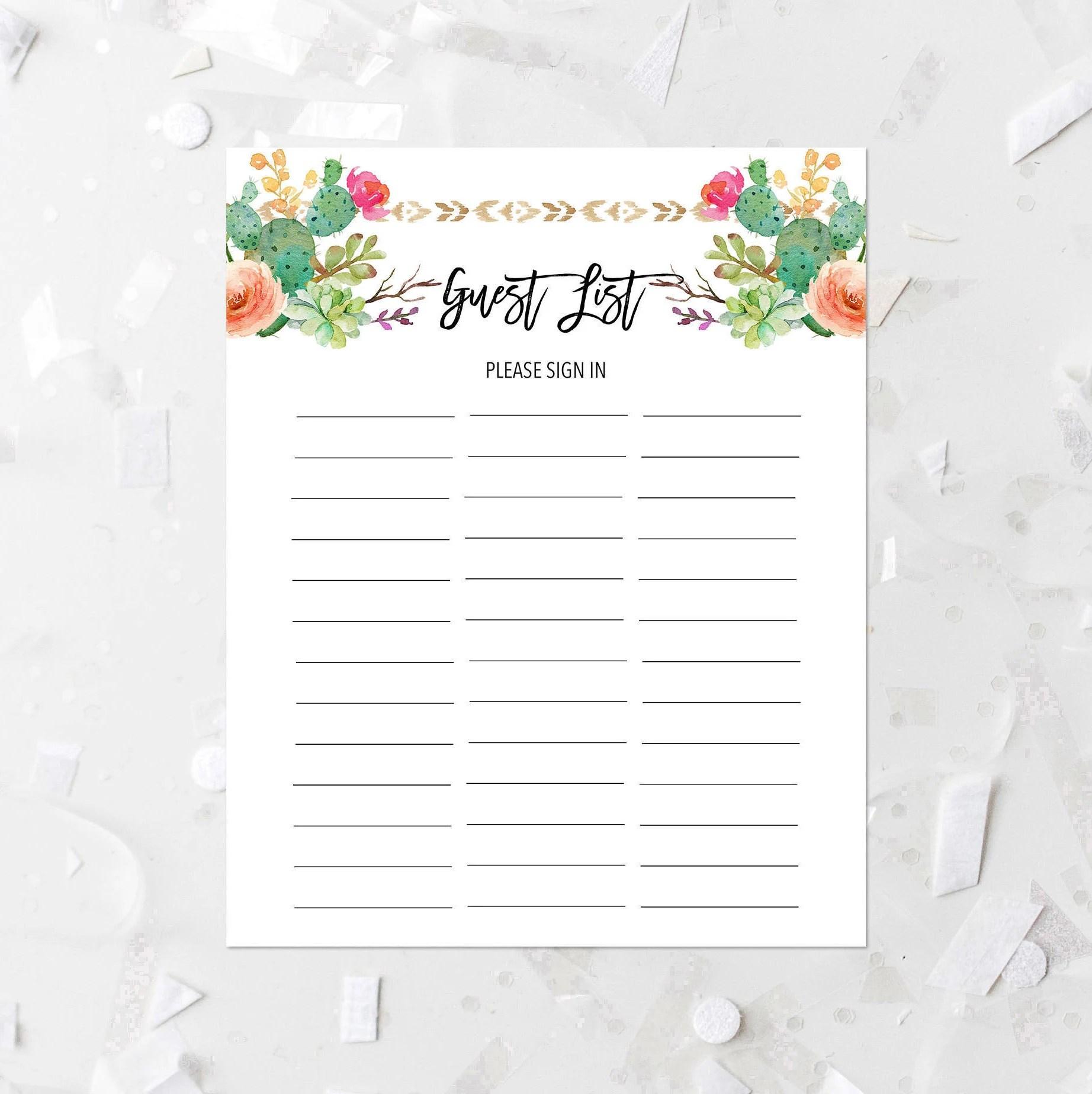 Succulent Guest List Printable Bohemian Tribal Guest List