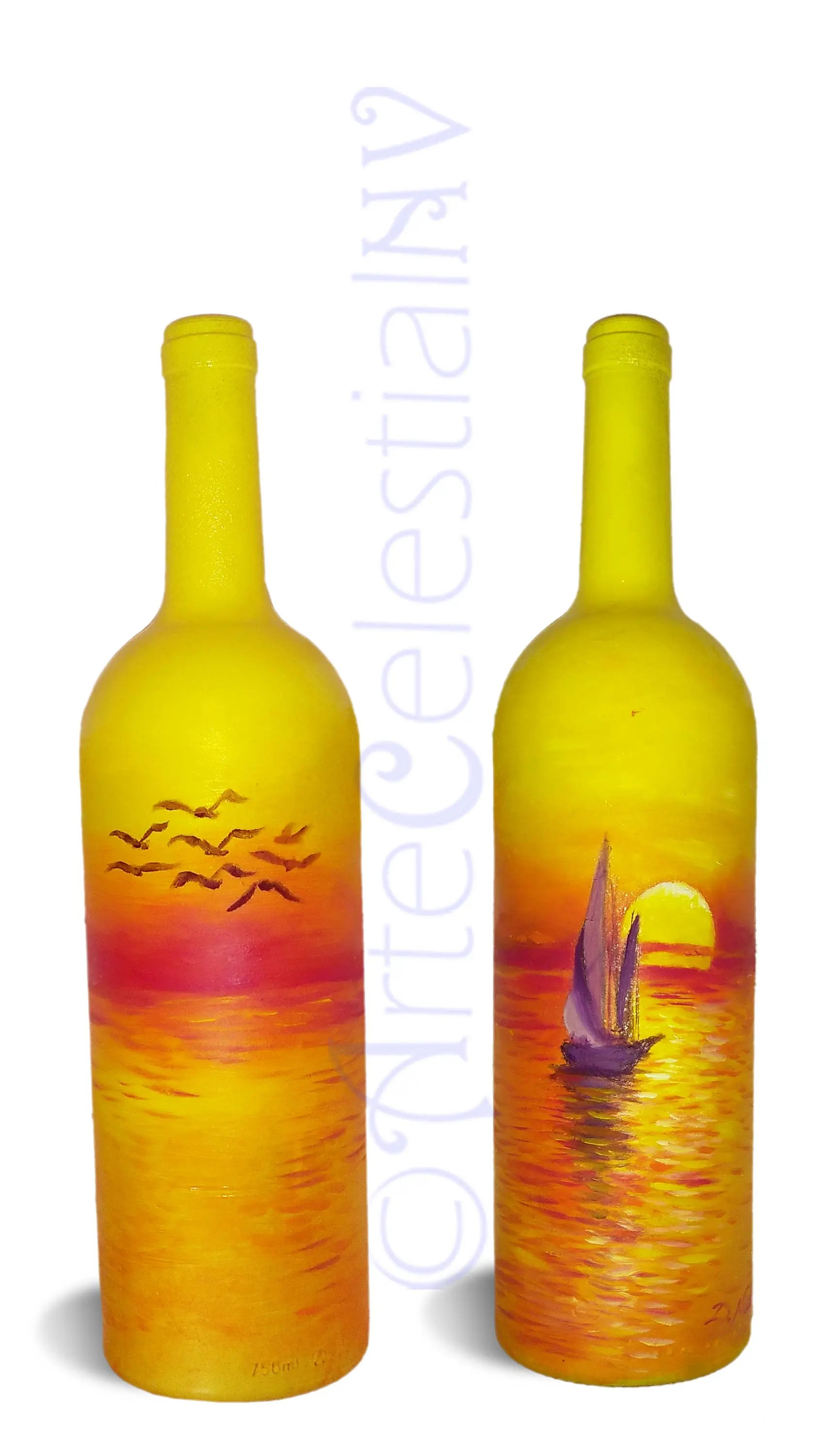 sunset hand painted on