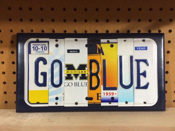 Blue Custom Recycled License Plate Art Sign University