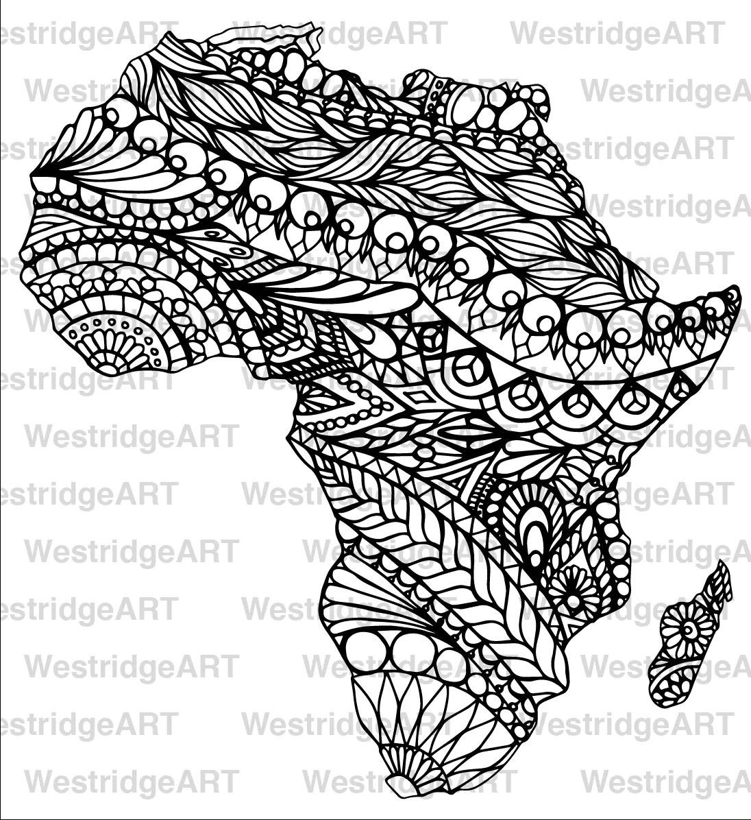 Mandala Doodle Adult Colouring Page Map of Africa