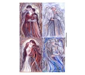 Romantic Magnets set of four elven art love couple elf Etsy