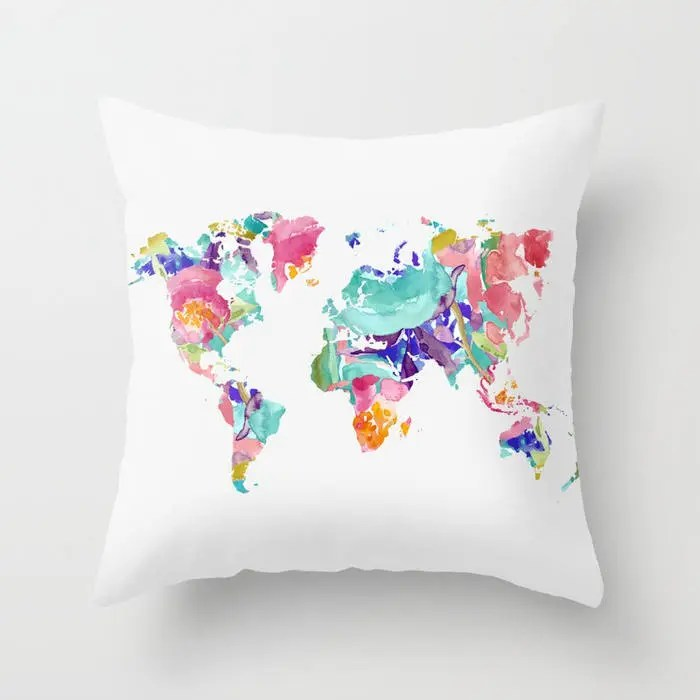 world map Pillow with insert cover nursery decor 16x26  Etsy