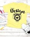 Kavio Tee Mockup Yellow Unisex Crew Neck T Shirt Flat Lay Etsy