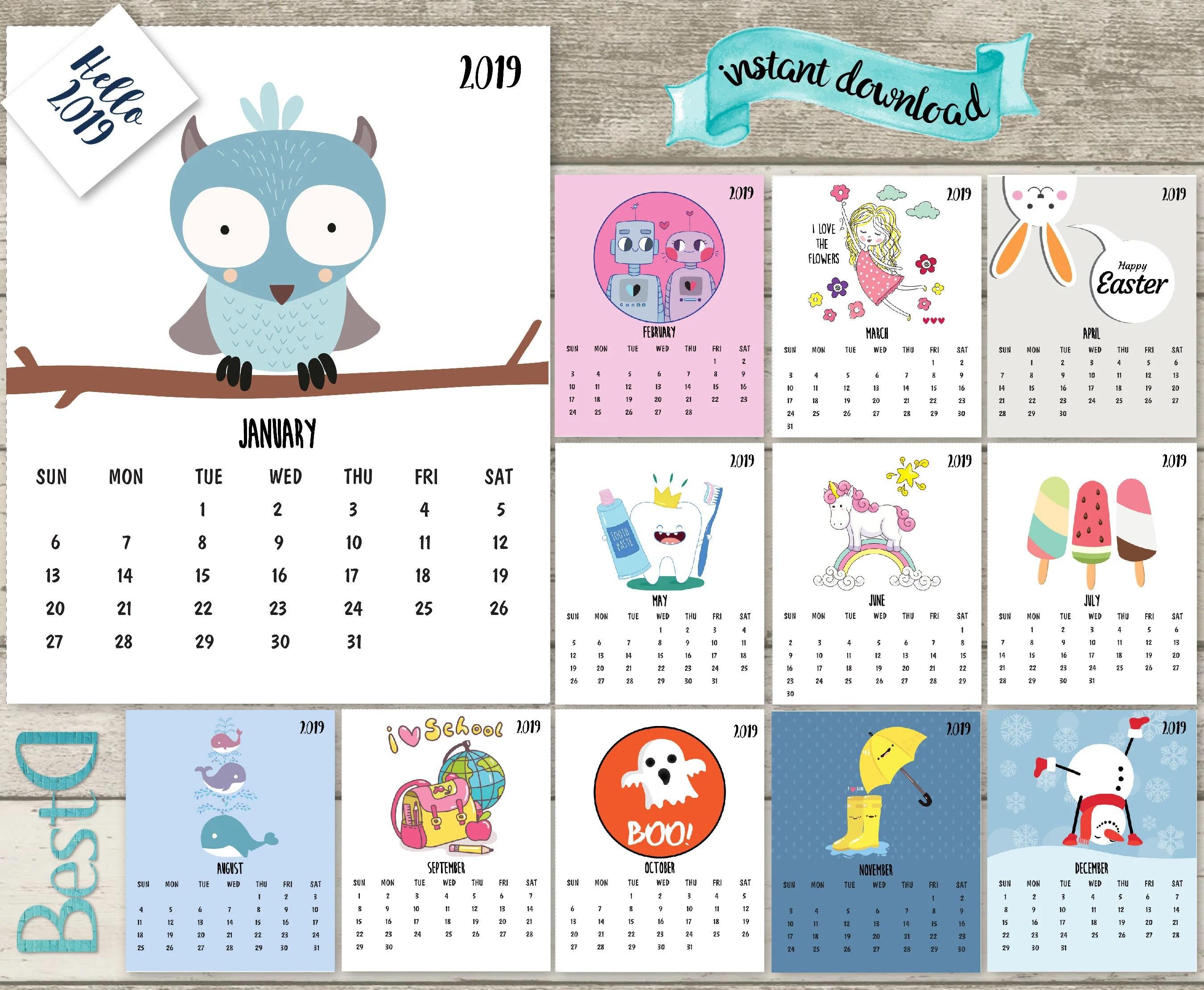 2019 2018 Kids Calendar2019 Funny Printable Calendar13