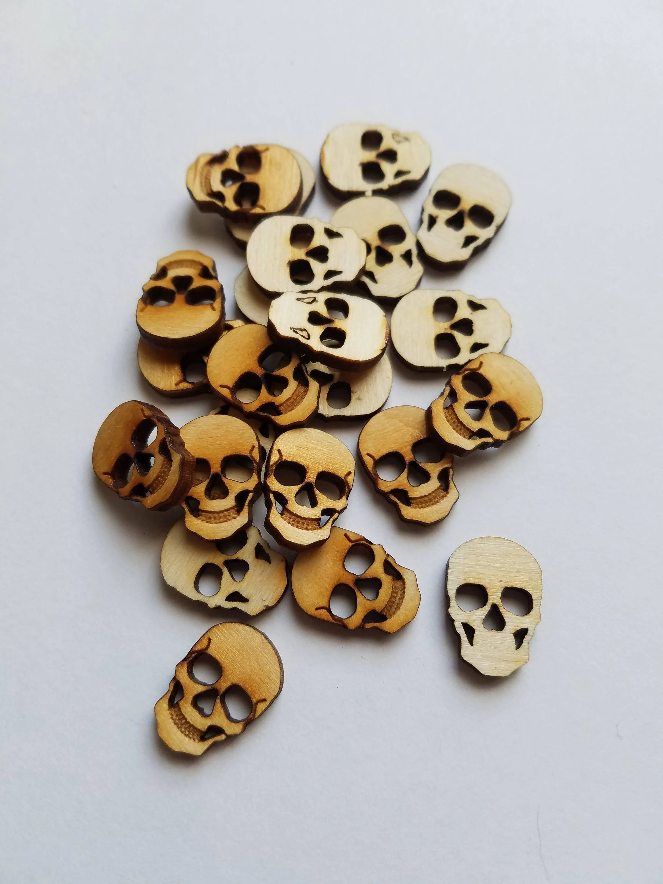 Set Of 24 Small Wooden Skull Cut Outs Steam Punk Style