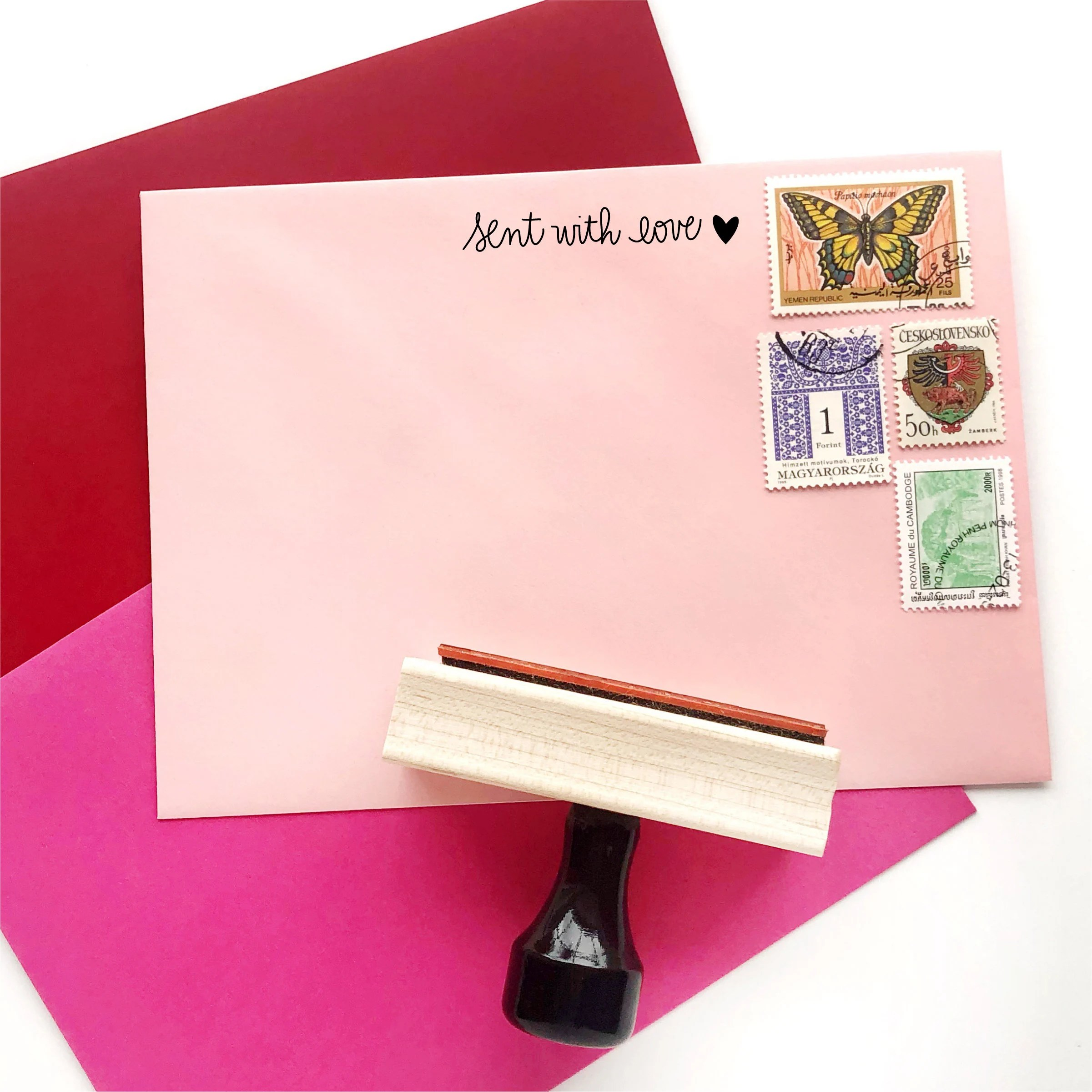 sent with love stamp