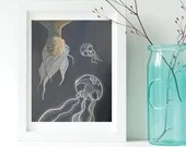 SALE: Original Melancholy Painting - Jellyfish and Corpse (11 x 14 in)