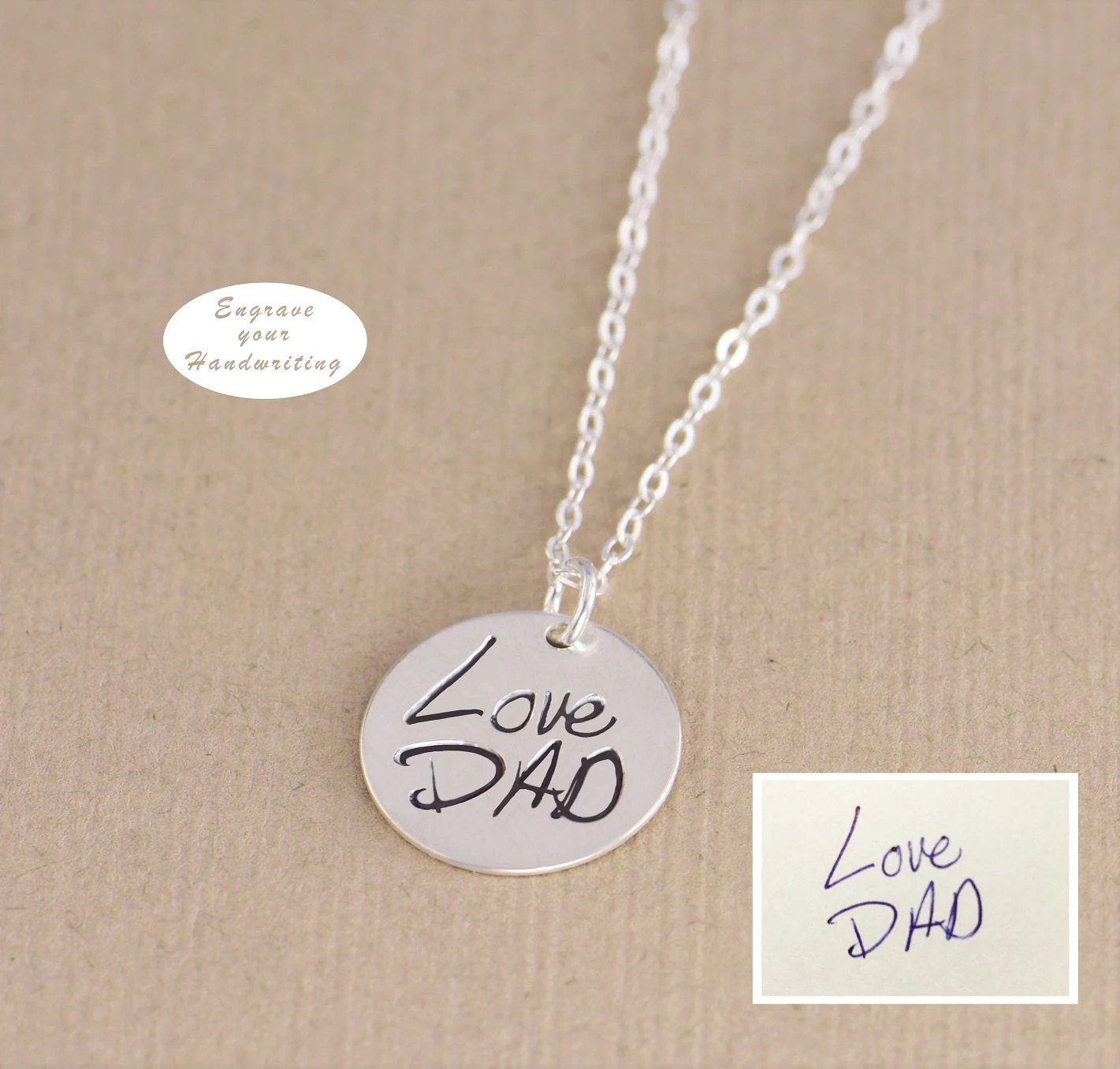 Personalized Disc Handwritten Necklace  YOUR HANDWRITING  image 3