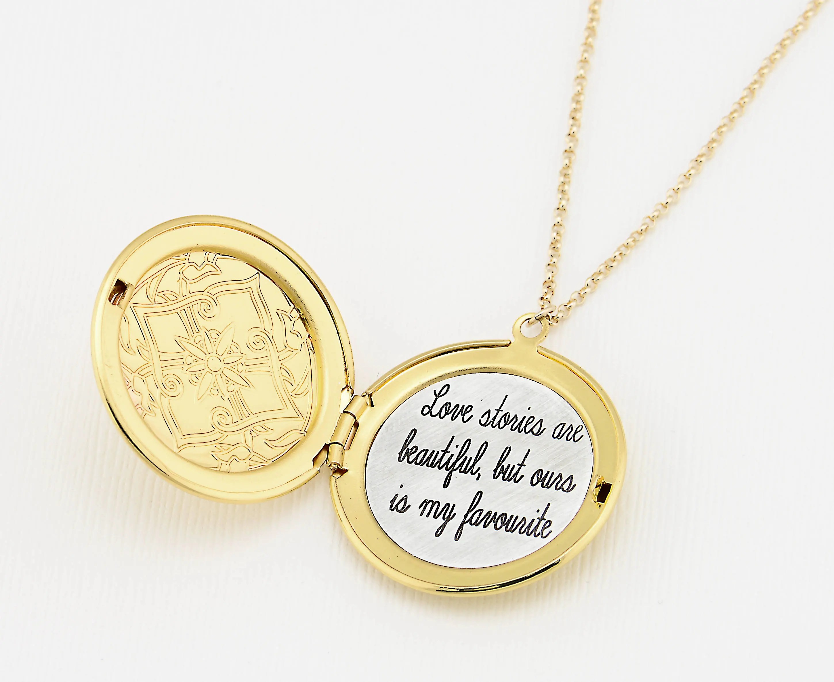 gold engraved necklace custom