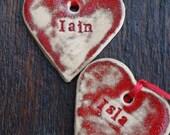 Beautiful decoration - personalised decoration - Christmas decoration - red tree decoration - red heart - pottery decoration - ceramic dec