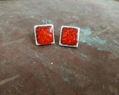 Ceramic earrings - square - handmade jewellery - colourful jewellery - red earrings - white earrings - blue earrings - square earrings