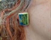 Ceramic earrings - rectangle - handmade jewellery - colourful - stud earrings - handmade earrings - blue earrings - green earrings - yellow