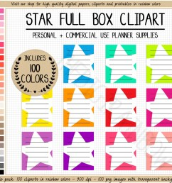 sale 100 star full box planner stickers rainbow printable planner stickers lined full box planner cliparts erin condren mambi happy planner [ 1259 x 1086 Pixel ]