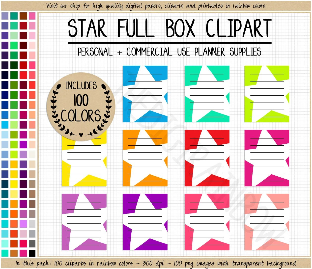 hight resolution of sale 100 star full box planner stickers rainbow printable planner stickers lined full box planner cliparts erin condren mambi happy planner