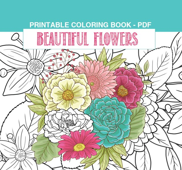 Flowers Adult Coloring Book PDF, printable pages with pretty floral gardens  - 13 pages by SLS Lines