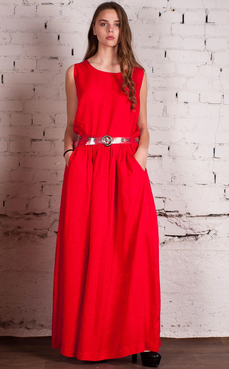 red maxi sundress evening