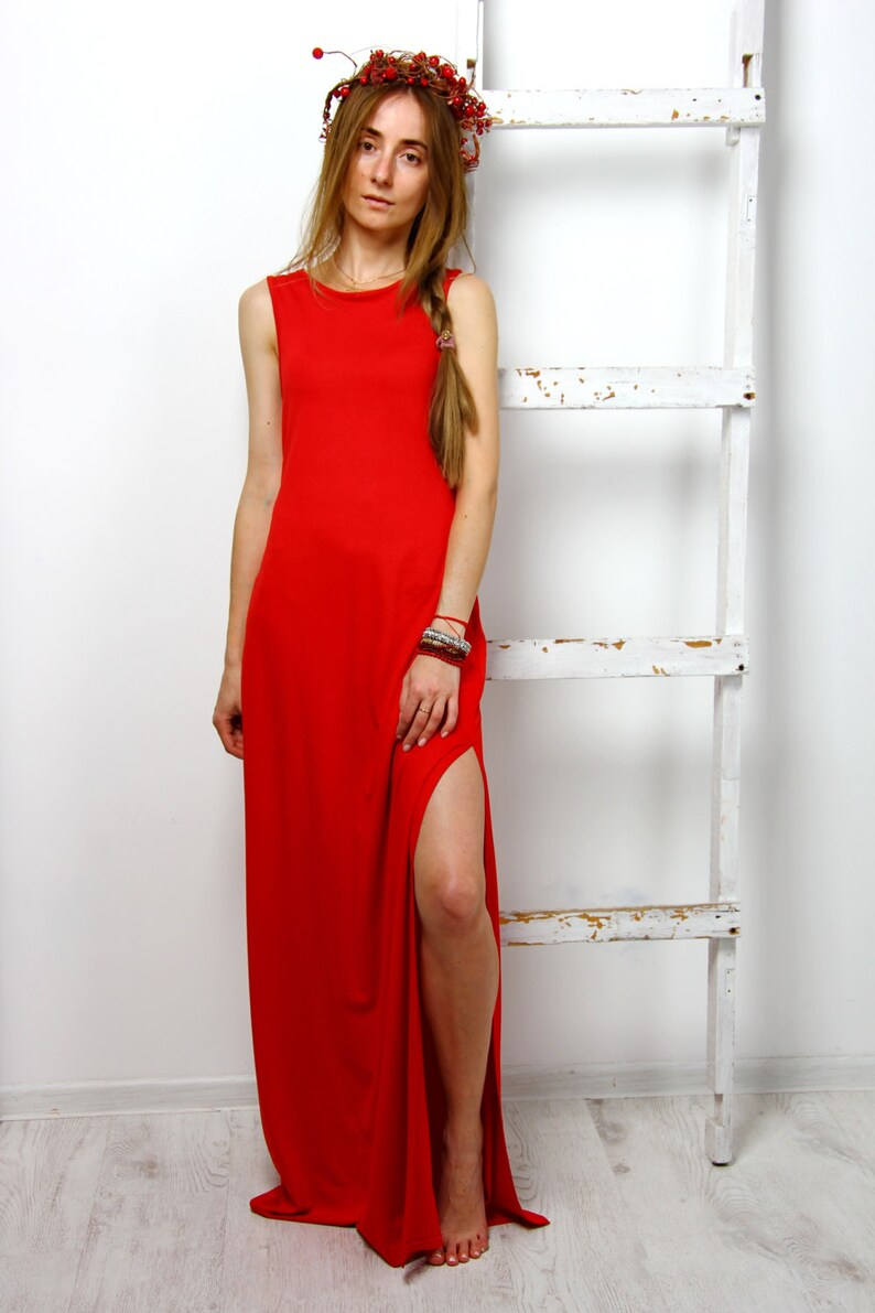 maxi dress red sundress