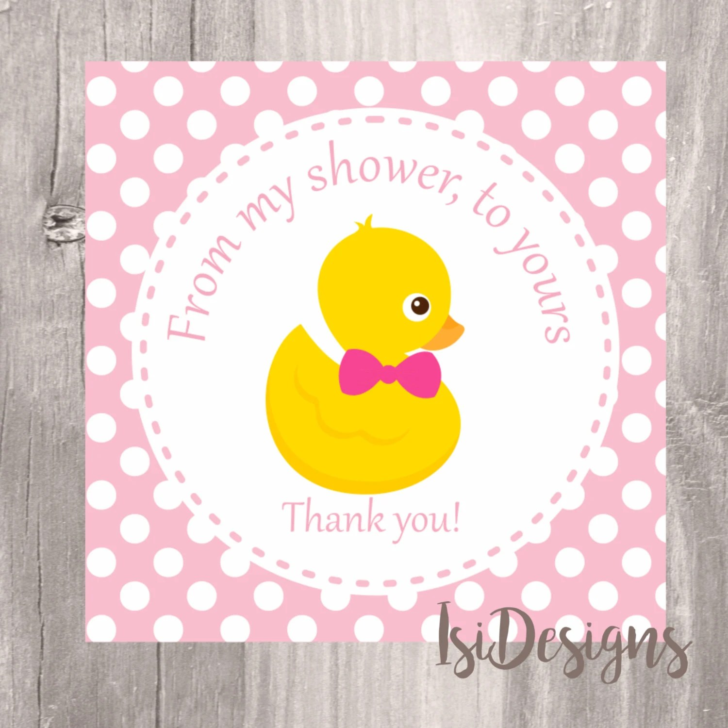 Pink Ducky Favor Tag Instant Download Printable Baby