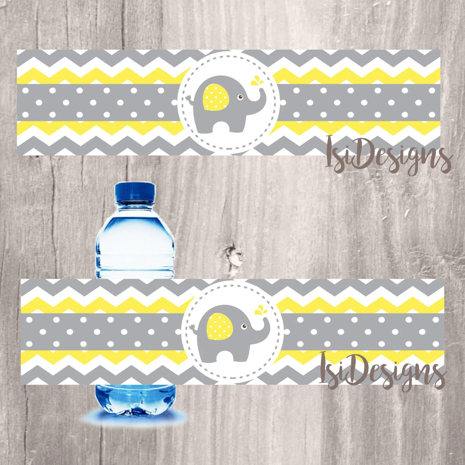 Grey And Yellow Elephant Baby Shower Water Bottle Label