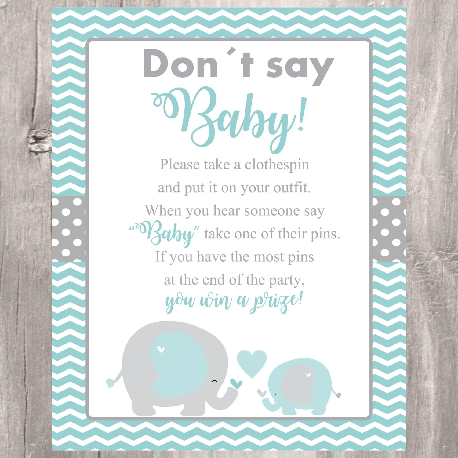 Elephant Don T Say Baby Sign Baby Shower Game Printable
