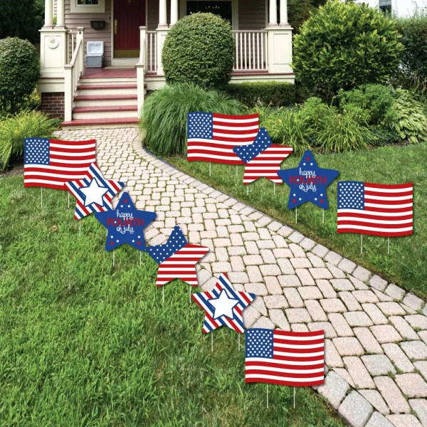 4th of july flag and star lawn