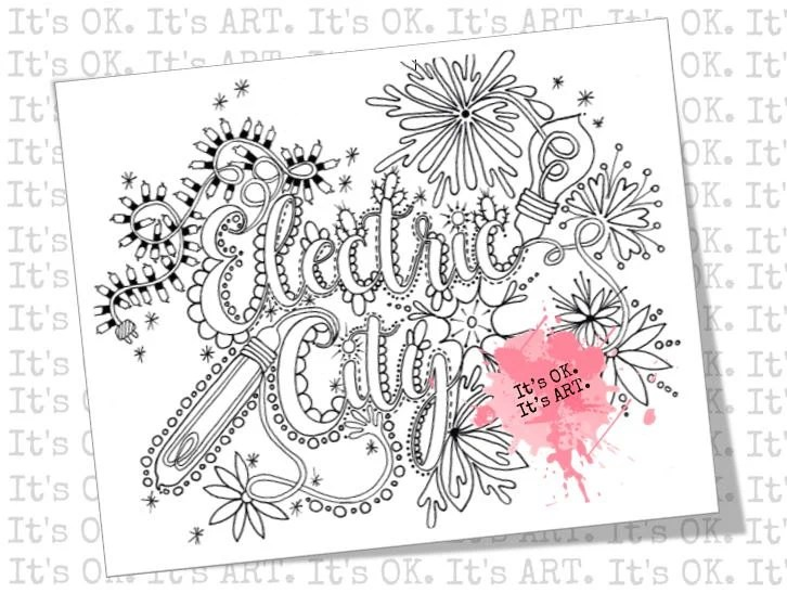 Electric City Adult Coloring SHEET Digital Download Adult