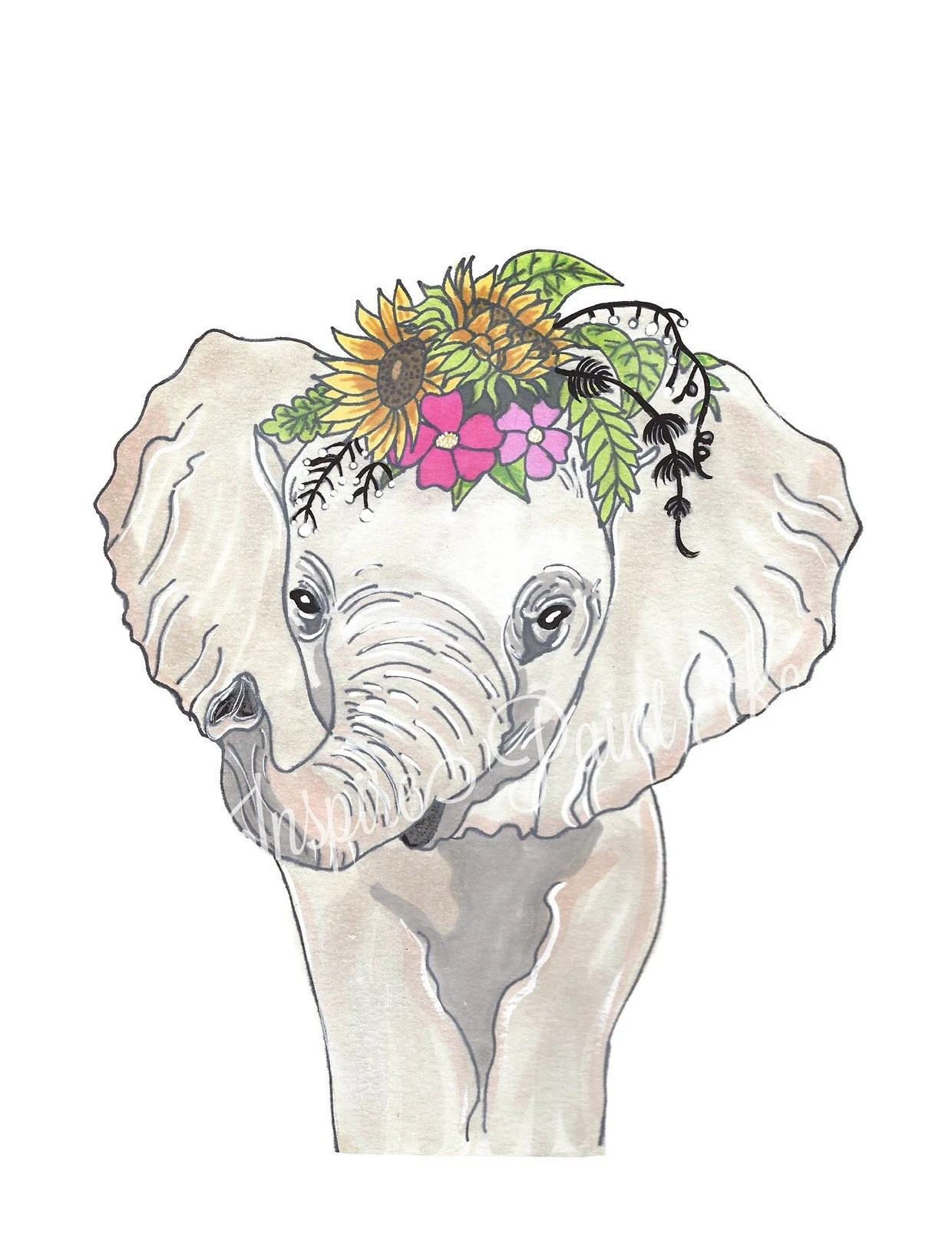 floral elephant painting floral