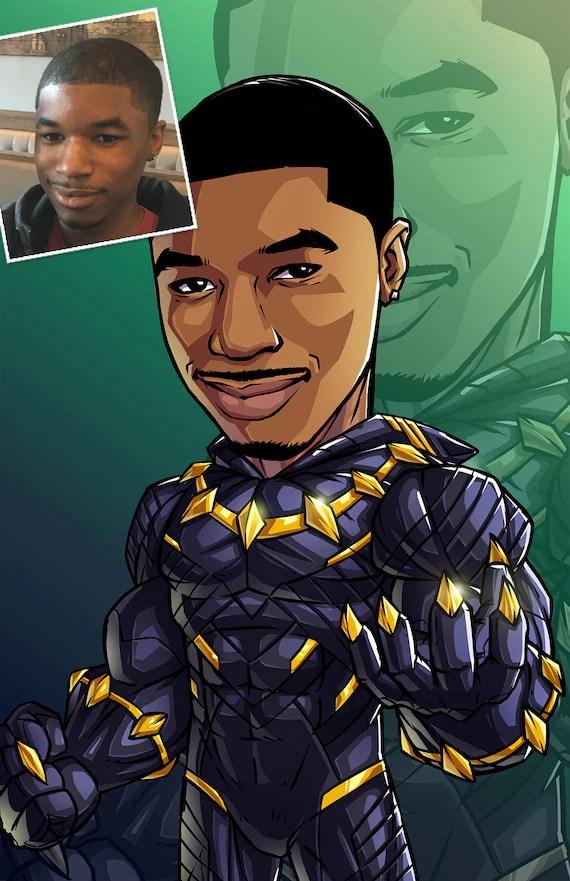 Cartoon Black Panther Drawing : cartoon, black, panther, drawing, Hero:, Black, Panther, 11x17, Custom, Cartoon