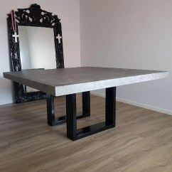 Concrete Kitchen Table Diamond Cabinets 2 7m Dining With Hardwood Unique Base Etsy 8 Seater Square 1 6m X Bespoke Steel Powder Coated Handmade Real Patio Outdoor Indoor