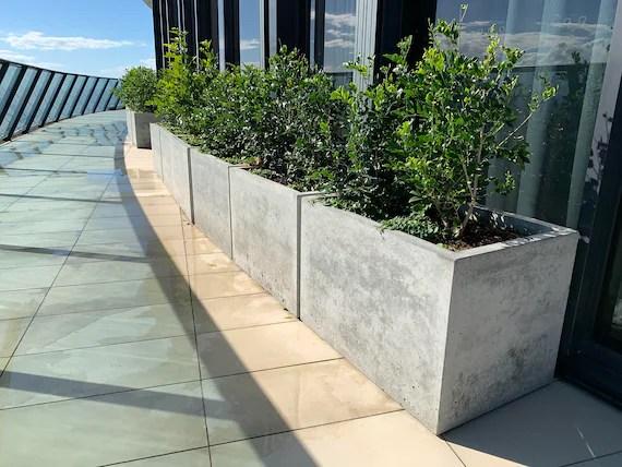 large 1m x 500 x 500mm concrete planter box trough balcony etsy