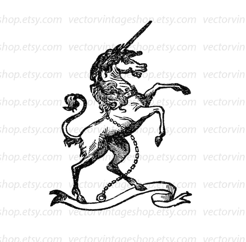 Unicorn Vector Graphic Instant Download Medieval Myth Clip