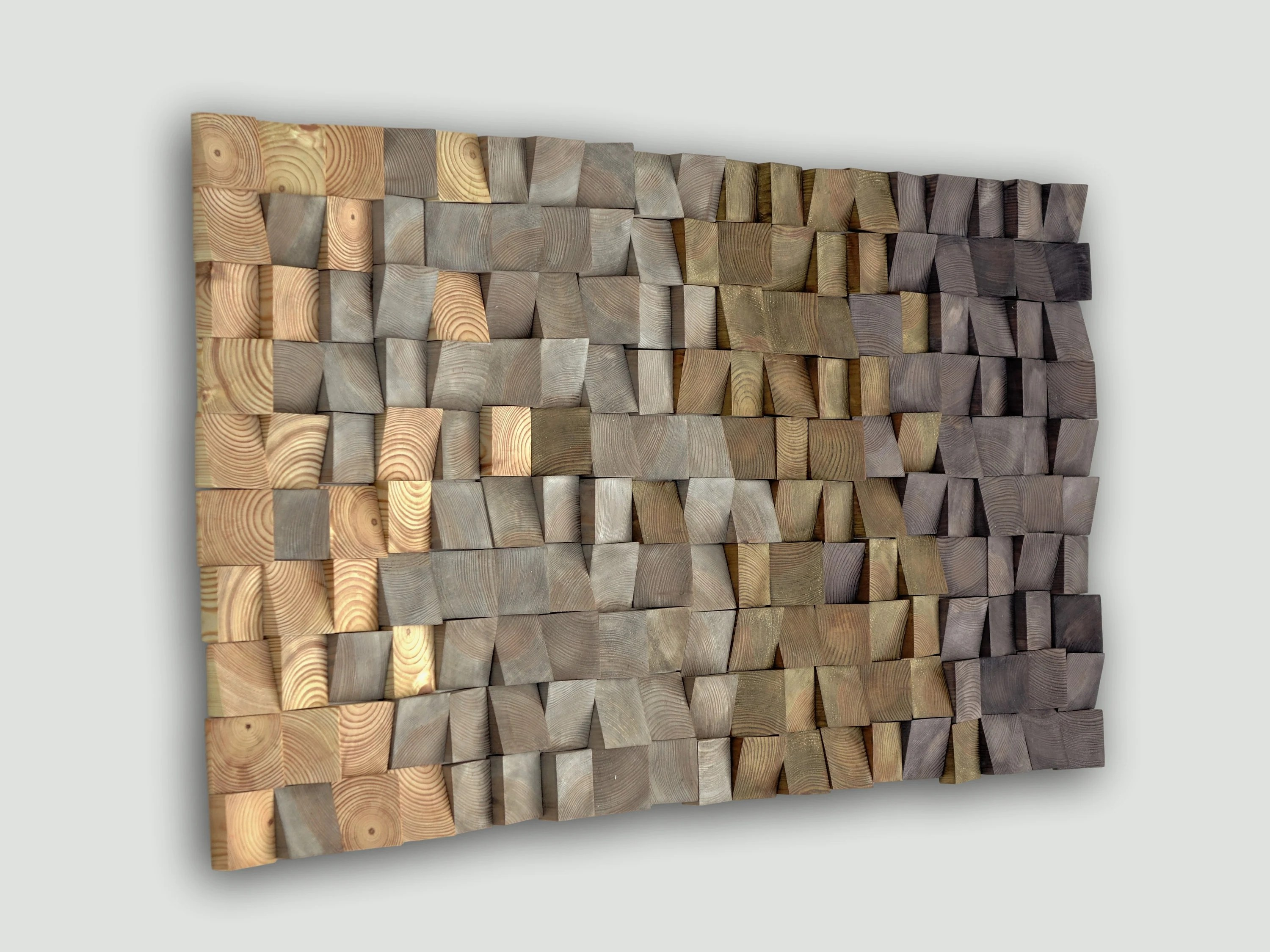 Textured Wood Wall Art, Mosaic Wall Hanging, 3D Wood Wall
