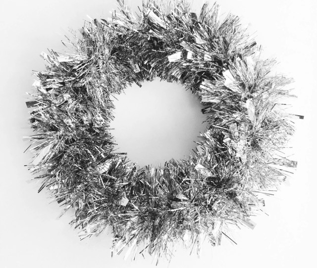Silver Christmas Wreath Tinsel Holiday Wreath Tinsel Christmas Wreath Trendy Christmas Wreath Metallic Silver Winter Wreath January Wreath