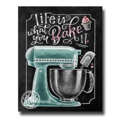 Decorative Chalkboard For Kitchen Calphalon Essentials Dutch Oven Chalk Art Etsy Life Is What You Bake It Wall Mixer Baking Decor Sign