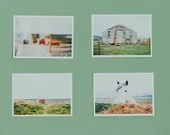 art photography, 4 postcards (6x4') with photos of a small Welsh town Borth. Film photography