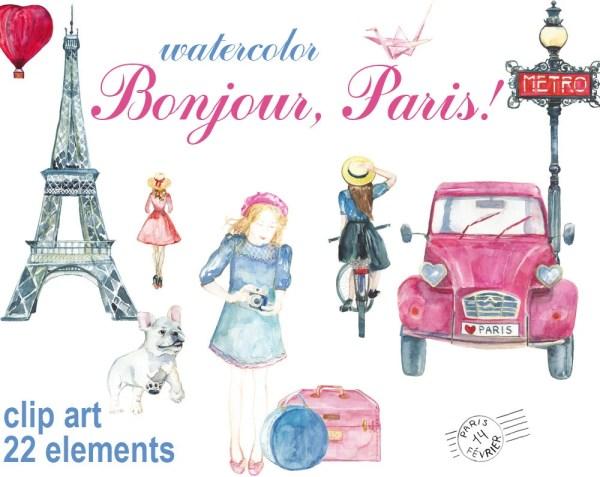 digital 22 watercolor bonjour paris