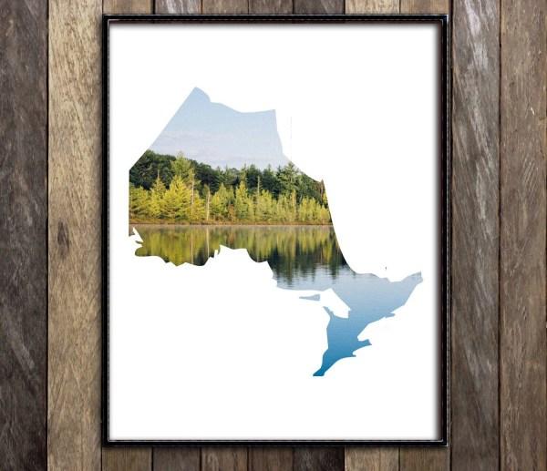 Ontario Map Landscape Art Print Toronto Poster
