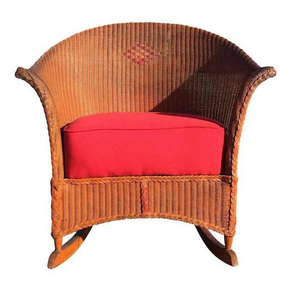 1920s rocking chair tulip cushion 30s era lloyd loom boho bohemian cottage etsy image 0
