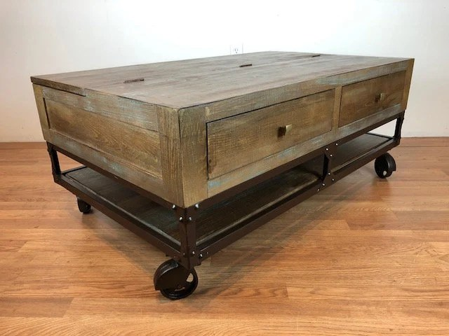 rustic modern industrial solid wood coffee table with casters lift top storage cocktail table with rolling wheels casters coffee table