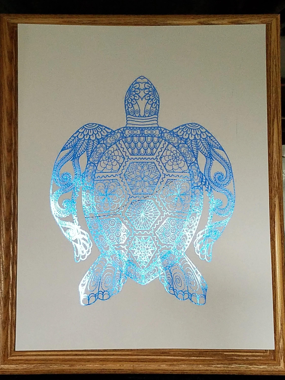 turtle blue foil art