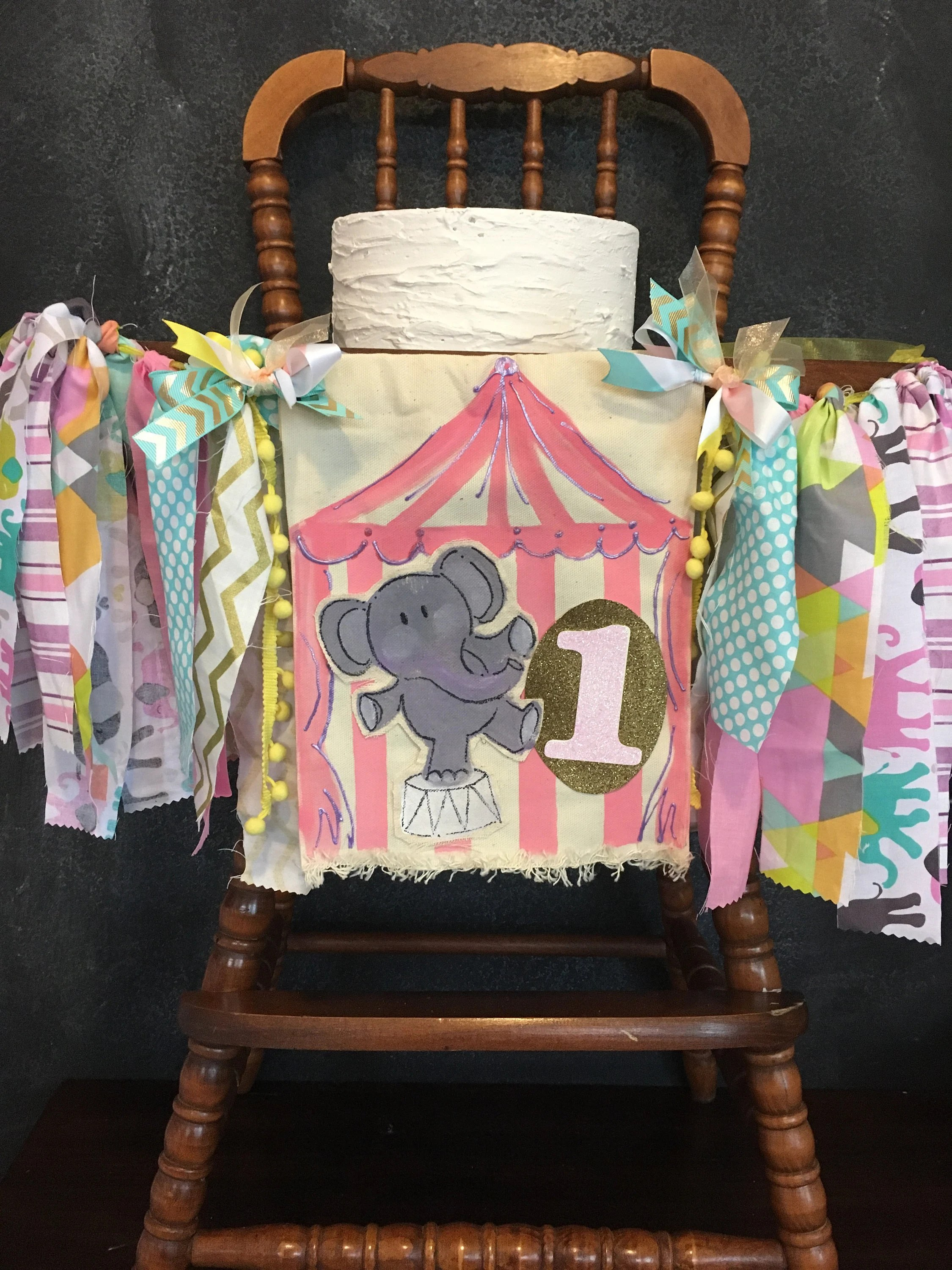 elephant high chair dining chairs pier one canada circus banner etsy