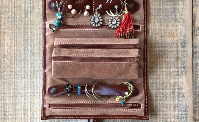 Travel Jewelry Roll Leather Roll Bridesmaid Gift Travel Etsy